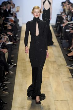 Fall 2012 Long Sleeve Turtleneck Sequinned Evening Gown With Decolletage Cut Out In Black