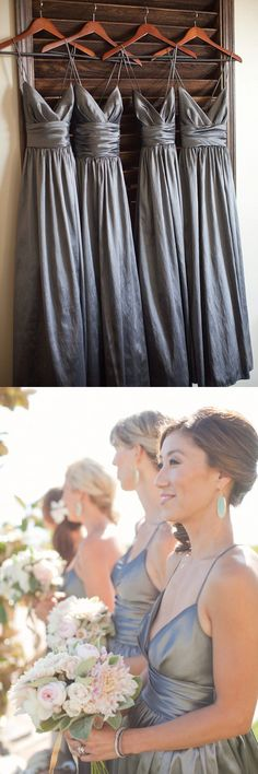 party dresses, simple grey v-neck evening gowns, cheap wedding party dresses, bridesmaid dresses, grey bridesmaid dresses, vestidos