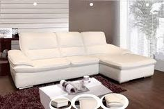 Image result for small white leather L'Shaped couch