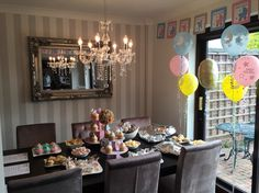 Baby Shower Dining Room ❤️  Chandelier from www.essexlighting.com   Mirror from Nic Inc Glass and Mirror shop  Wallpaper from Laura Ashley  Dining chairs from Next  Table from IKEA
