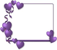 pretty rectangle frame with purple hearts