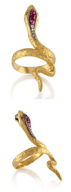Arman Sarkisyan's 22k gold snake ring with black diamonds and pink tourmaline. At Stone and Strand.
