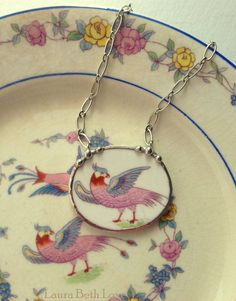 Broken china jewelry necklace antique by dishfunctionldesigns, $65.00