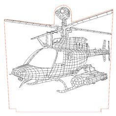 Helicopter Apach 3d illusion vector file - 3bee-studio