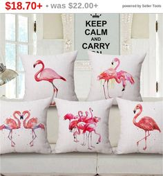 Throw pillow covers flamingo bedding Pink by WonderlandHomeDecor