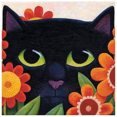 Black Cat and Flowers by Vicky Mount