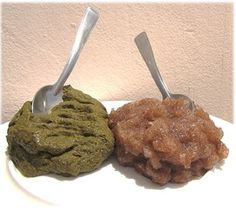 There are two different edible powders (called lalo/laalo in Wolof) made from the West African Baobob tree  (Adansonia digitata), one from the dried green leaves and one from the dried sap of the tree. Water added to baobab dry ground leaf powder and dry baobab sap powder produces very different consistencies. Used especially for millet couscous recipes. The color of the millet couscous indicates which Baobab lalo powder was used.