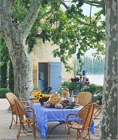 The terrace set up for an afternoon meal under the large plane trees.