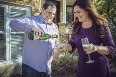Poppin' Champagne POP FIZZ CLINK. Engagement photos by Green Holly Photography #greenhollyphotography #detroit #detroitengagement #michigan #wedding #detroitwedding #champagne #popfizzclink