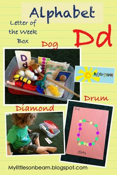 My Little Sonbeam: September Week 4 - alphabet letter D letter of the week box, D snack, craft and activity ideas. Homeschool preschool learning activities for 2,3,4 year olds. Follow on Facebook and Mylittlesonbeam.blogspot.com