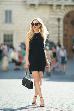 LBD & Leopard Heels: black trapeze dress, leopard print sandals, Chanel medium classic flap bag, little black dress with leopard heels outfit