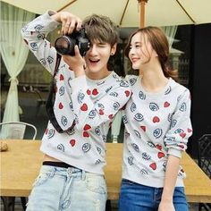 Heart Print Couple Sweatshirt from #YesStyle <3 Evolu YesStyle.com