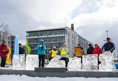 Härmälänrannassa järjestettiin maaliskuussa 2016 jääveistostapahtuma. Keskellä voittanut norppaveistos. / Ice sculpture competition in Härmälänranta in March 2016.