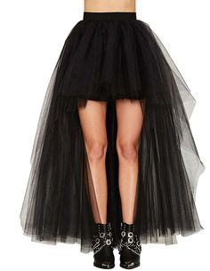 Fashion High Low Black Tutu Skirt Short Front Long Back Pleated Tulle Adults Womens Skirts Custom Made Sexy Jupe Falda Tul Mujer Steampunk Rock, Steampunk Skirt, Victorian Steampunk, Long Tutu, Tulle Mini Skirt, Black Midi Skirt, Tulle Skirts, Chiffon Skirt, Tulle Dress