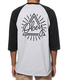 Obey Triangle Baseball T-Shirt