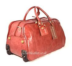 Brown Leather 2 handle small leather holdall - small wheeled bag - made from Full grain leather - carry on bag with wheels - nice stylish bag.