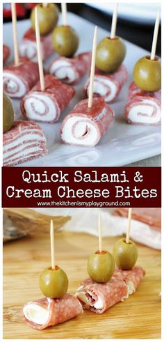 Quick and easy Salami & Cream Cheese Bites ~ a classic party crowd-pleaser you can whip up in minutes. #partyfood #easyrecipes #gameday #salami #salamibites #thekitchenismyplayground www.thekitchenismyplayground.com
