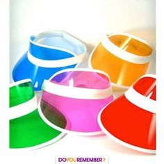 See thru plastic visors in bold neon colors