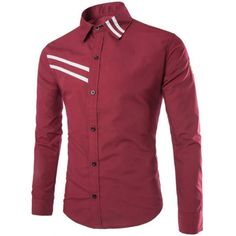 Slimming Fashion Shirt Collar Badge Design Stripe Ribbon Long Sleeve Polyester Men's Shirt #shoes, #jewelry, #women, #men, #hats, #watches