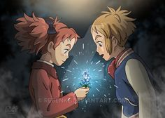 Mary and Peter with Fly By Night flower from Mary and the Witch's Flower Character Illustration, Animation Studio, Ghibli, Art Reference, Illustration, Ghibli Art, Animated Movies, Art Reference Photos, Witch