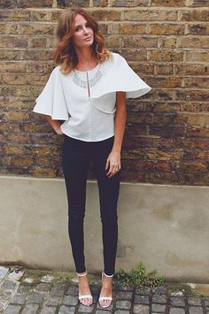 Millie Mackintosh wearing River Island embellished top, jeans and stiletto heels #riverisland.