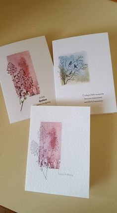 trio of handmade greetng card ... acrylic block rectangle stamping with line art images stamped over and off-the- edges ... sweet and artsy look ... one layer cards ... watercolor paper ...