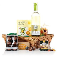 Tray of Delights | Truly a tray of delights from the latte truffles to the lemon crisp biscuits. Presented in a lovely wicker tray this collection of tasty treats and wine is sure to delight your lucky recipient. A great gift for any occasion.