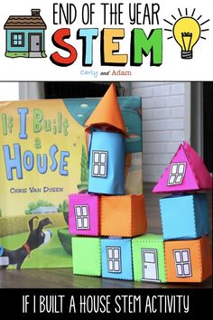 building a house Integrate STEM, Writing, and Literacy in your classroom at the End of the School Year!Teach students everything they need to build a house! Your students will love des 3d Shapes Activities, End Of Year Activities, Steam Activities, Home Activities, Kindergarten Activities, Writing Activities, Easter Crafts, Preschool Activities, Stem Teacher