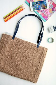 Upcycled Sweater DIY Laptop Tote   Turn an old sweater into something brand new with this sewing project!
