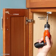 Here's a 10-minute fix for a cabinet door that won't stay closed. Just install a magnetic door catch. Roller-style ones also work, but it's easier to line up a magnetic catch with the strike.
