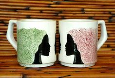 Sister mugs. White Earthenware Ceramic Hand Made Sisters Mug by TerraTreasures Etsy Handmade, Handmade Items, Hand Painted Mugs, Presents For Friends, Pottery Painting, Woman Painting, Mugs Set, Earthenware, Sisters