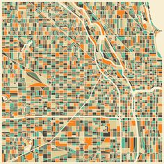 "Best Map Piece - ""Abstract City Map of Chicago"" by Jazzberry Blue"