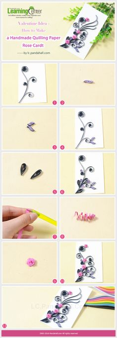 Tutorial on How to Make a Handmade Quilling Paper Rose Card from LC.Pandahall.com
