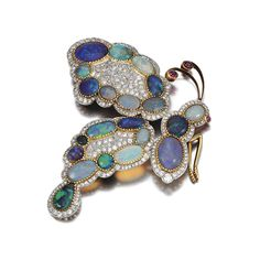 OPAL AND DIAMOND BROOCH/HAIRPIECE circa 1900. #butterfly #opal #jewelry