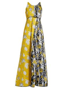 Carl Kapp Tropical floral-jacquard gown