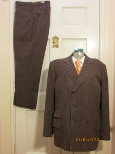 30s-40s-Brown-Chalk-Stripe-DB-Suit-MacIntosh-made-Vtg-Fox-Hollywood-Large-Size(276)