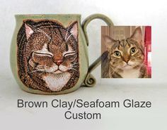 Choose the custom option in my cat loaf mug listing. It is a handmade mug that is hand painted with glazes. This is a permanent, dishwasher and microwave safe mug. You can also contact me through my email. susanaltenau@gmail.com Great Birthday Gifts, Great Christmas Gifts, All Black Cat, Name Mugs, Cat Mug, Grey Cats, Pottery Mugs, Dog Portraits, Ceramic Mugs