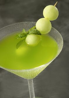 honeydew melon martini    Ingredients    2  1/2 oz. Belvedere Vodka  3 oz. Fresh Honeydew melon puree  1/2 oz. Midori  3/4 oz. Fresh Limejuice  1/2 oz. Triple sec  1/2 oz. Champagne  Preparation    To make melon puree, simply blend chunks of honeydew in a blender and pass through a strainer. Add to other ingredients in cocktail shaker, shake over c