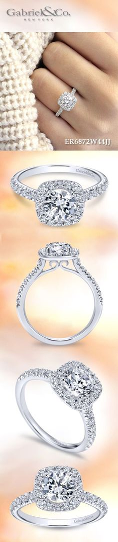 Gabriel & Co. - Voted #1 Most Preferred Bridal Brand. A truly enchanting 14k White Gold Round Cut Halo  Engagement Ring.