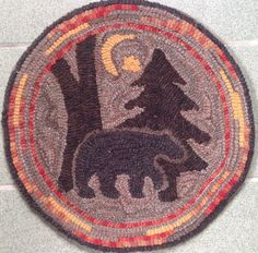 """Rug Hooking Pattern for """"Moonlight Bear"""" Chair Pad, on Monks Cloth or Primitive Linen, P111 by PrimitivesByCarolRae on Etsy https://www.etsy.com/listing/224444921/rug-hooking-pattern-for-moonlight-bear"""