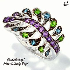 Good Morning☺☺.. Here's our branch shaped #ring with London #bluetopaz & #chromediopside as leaves & African #amethyst as the Petiole holding it.. Isn't it just lovely??? All this for 32💰 only!! Hurry up!! .. www.colorznshades.com  .. 👉WORLDWIDE SHIPPING👈 ..💥20% #discount 💥 .. Main Stone Name: African Amethyst Main Stone Grading: 3A Main Stone Setting: PRONG Main Stone Treatment: Heat  Total Carat Weight (All Stones): 0.92 Total Metal Weight (in grams): 4.08  .. #colorzNshades