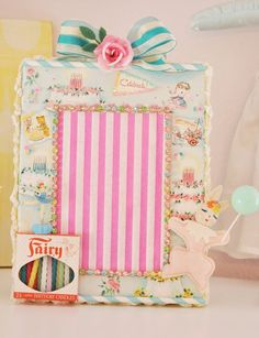 "Shabby ""Vintage Birthday"" Frame With Box of Candles"