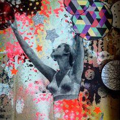 Reach for the stars, collage Lene Kjeldsen Art