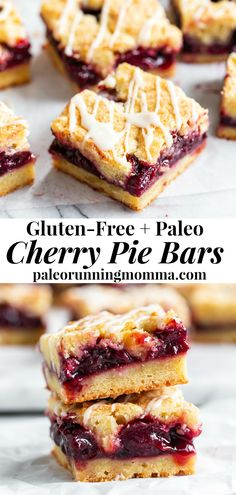 These paleo cherry pie bars have a pastry crust that doubles as a topping, a gooey sweet cherry filling and a maple glaze that's seriously addicting. Just like a cherry pie but easier to make, they're gluten free, grain free, and have a dairy free option. Paleo Dessert, Paleo Sweets, Gluten Free Sweets, Gluten Free Baking, Dairy Free Recipes, Real Food Recipes, Cherry Recipes Paleo, Gluten Free Pastry, Gluten Free Grains