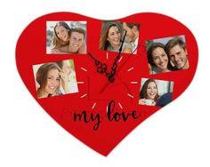 Orologio Cuore Legno 36x30 Love for collage