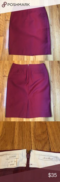 "Jcrew No. 2 pencil skirt Classic jcrew No. 2 pencil skirt in maroon. Double serge cotton with a hint of stretch. Sits at waist, 22"" long. Back zip with back pockets. 95% cotton, 5% spandex. Amazing condition. J. Crew Skirts Pencil"