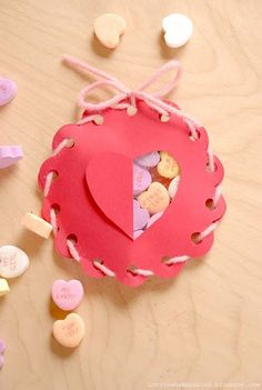 Valentine treat boxes. (would use baker's twine or ribbon, though...) holiday, lorajean magazin, valentine treats, valentin doili, candies, valentine gifts, candi fill, fill valentin, kid