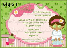 Girls Spa Day Birthday party Invitation/ Make over party Invite Choose from two…