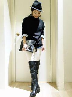 SISLEY名古屋パルコ店|KANAさんのブーツ「レザーラバーコンビロングブーツC1(SISLEY/LADIES|シスレー/レディース)」を使ったコーディネート