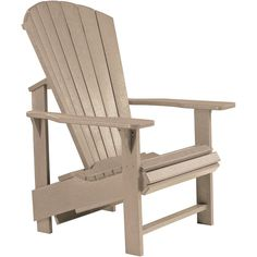 Kick your feet up and relax in style with this beige Adirondack chair. The chair is constructed from recycled plastic and features an upright, comfortable design. Color: Beige Materials: Recycled Plas